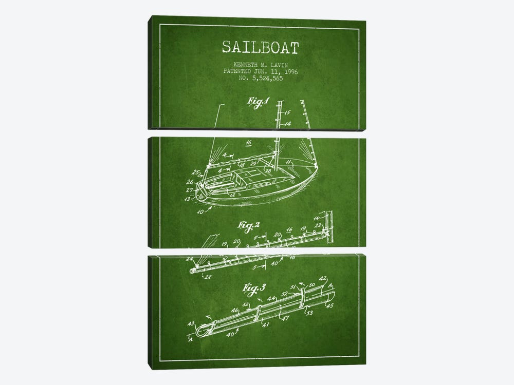 Sailboat 4 Green Patent Blueprint by Aged Pixel 3-piece Canvas Wall Art