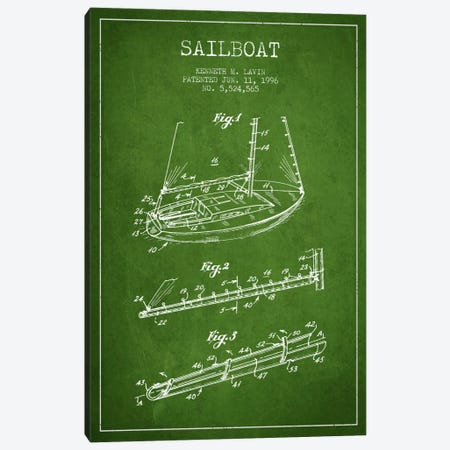 Sailboat 4 Green Patent Blueprint Canvas Print #ADP2716} by Aged Pixel Canvas Print