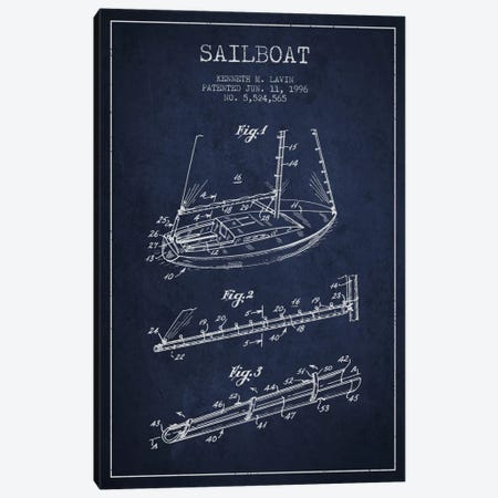 Sailboat 4 Navy Blue Patent Blueprint Canvas Print #ADP2717} by Aged Pixel Art Print
