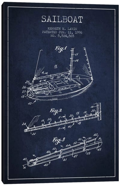 Sailboat 4 Navy Blue Patent Blueprint Canvas Print #ADP2717
