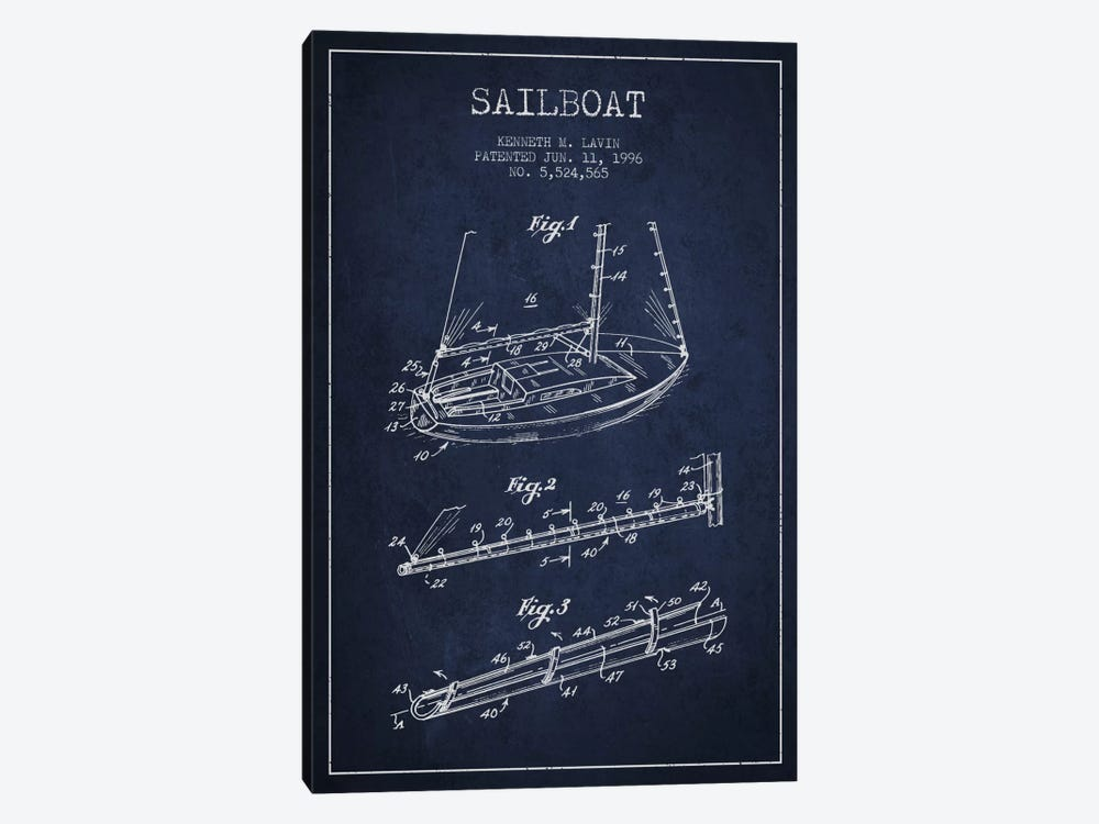 Sailboat 4 Navy Blue Patent Blueprint by Aged Pixel 1-piece Canvas Art Print