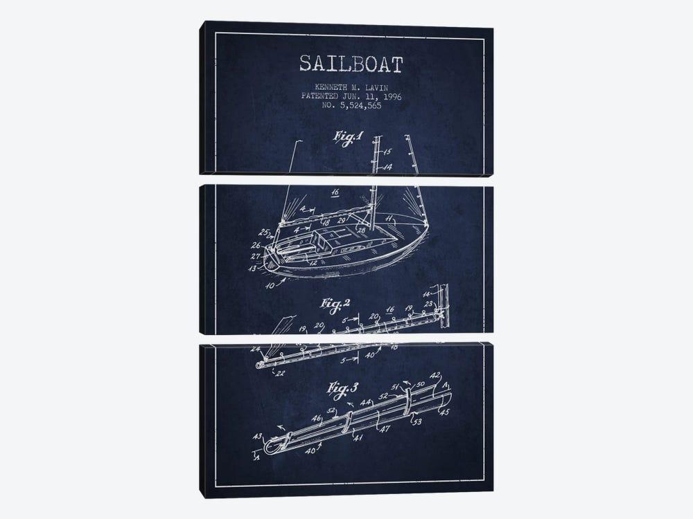 Sailboat 4 Navy Blue Patent Blueprint by Aged Pixel 3-piece Art Print