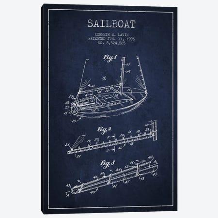 Sailboat 4 Navy Blue Patent Blueprint Canvas Print #ADP2717} by Aged Pixel Art Print