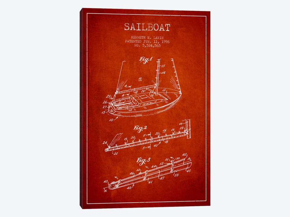 Sailboat 4 Red Patent Blueprint by Aged Pixel 1-piece Canvas Art