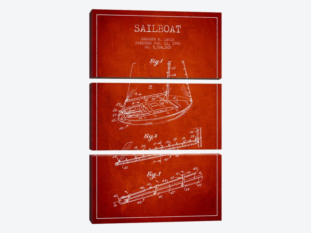 Sailboat 4 Red Patent Blueprint by Aged Pixel 3-piece Canvas Art