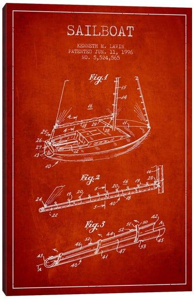 Sailboat 4 Red Patent Blueprint Canvas Art Print