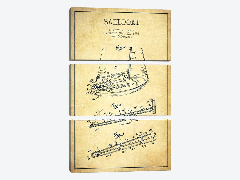 Sailboat 4 Vintage Patent Blueprint by Aged Pixel 3-piece Canvas Print