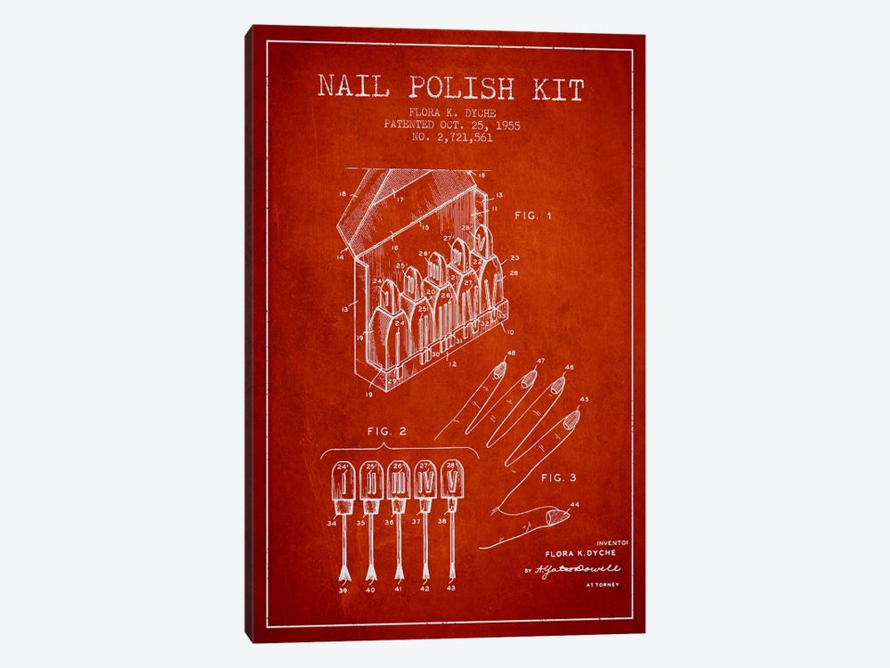 Nail Polish Kit Red Patent Blueprint 1-piece Canvas Wall Art