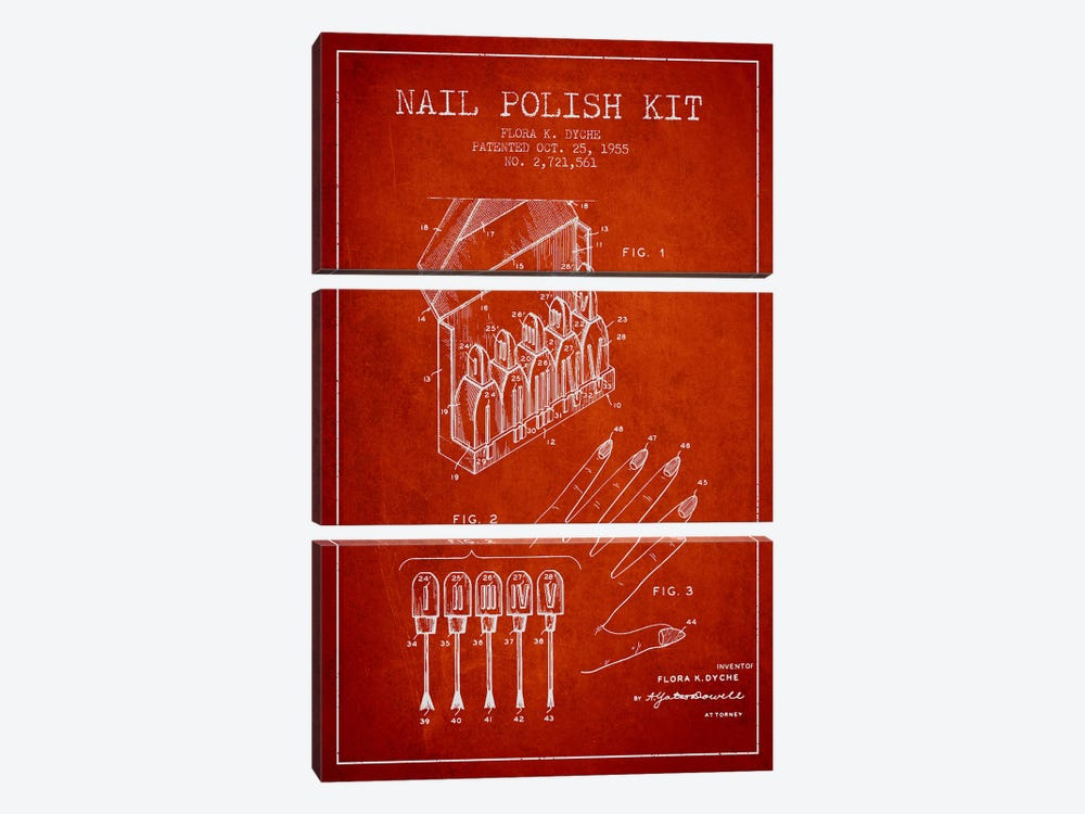 Nail Polish Kit Red Patent Blueprint by Aged Pixel 3-piece Canvas Wall Art