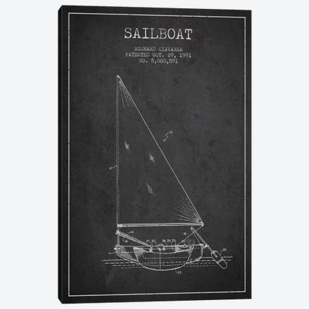 Sailboat 3 Charcoal Patent Blueprint Canvas Print #ADP2720} by Aged Pixel Art Print