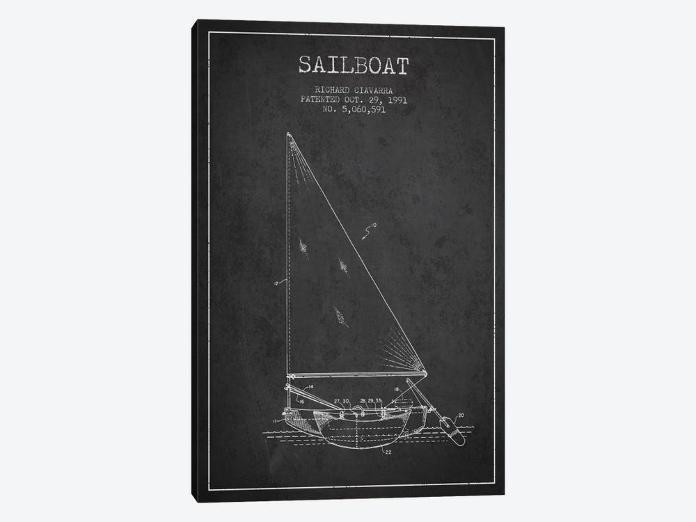 Sailboat 3 Charcoal Patent Blueprint by Aged Pixel 1-piece Canvas Art Print