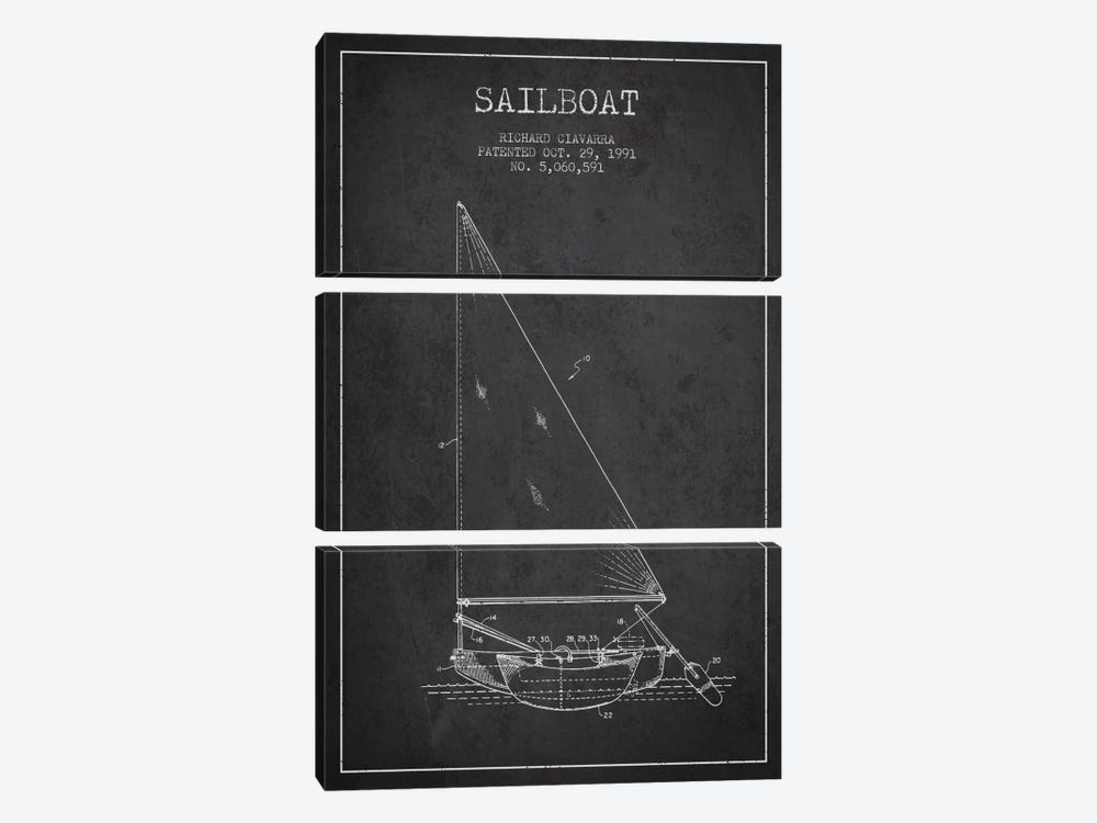 Sailboat 3 Charcoal Patent Blueprint by Aged Pixel 3-piece Art Print