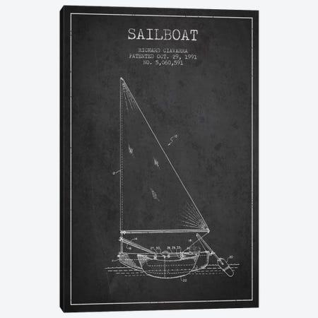 Sailboat 3 Charcoal Patent Blueprint Canvas Print #ADP2720} by Aged Pixel Art Print