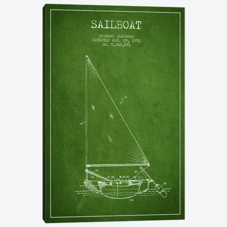 Sailboat 3 Green Patent Blueprint Canvas Print #ADP2721} by Aged Pixel Canvas Art Print