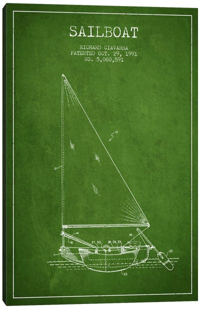 Sailboat 3 Green Patent Blueprint Canvas Art Print