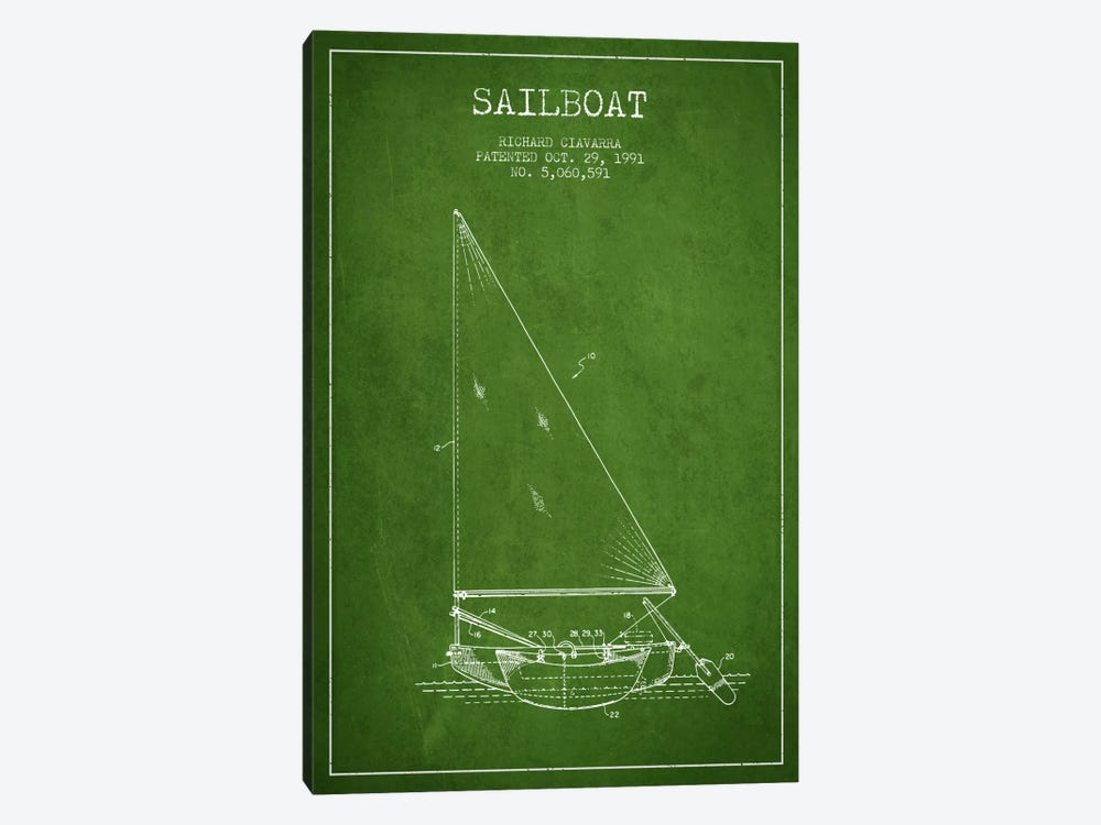 Sailboat 3 Green Patent Blueprint by Aged Pixel 1-piece Canvas Wall Art