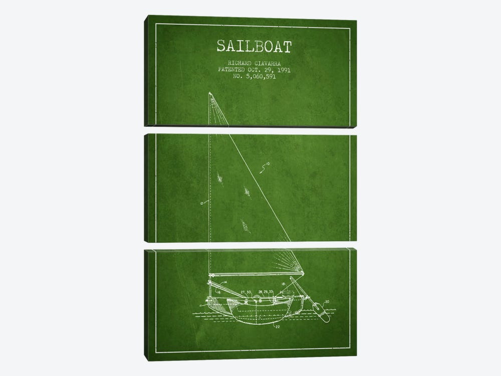 Sailboat 3 Green Patent Blueprint by Aged Pixel 3-piece Canvas Artwork