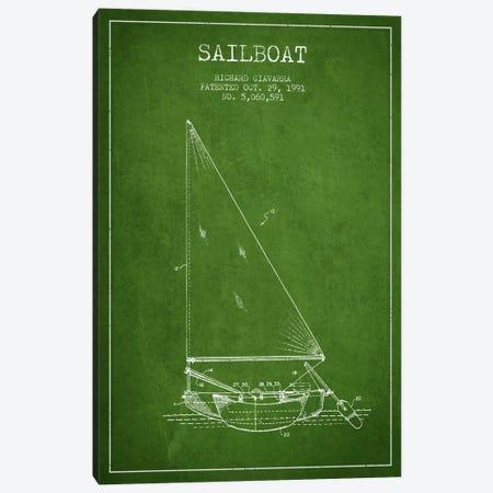 Sailboat 3 Green Patent Blueprint Canvas Print #ADP2721} by Aged Pixel Canvas Art Print
