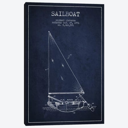 Sailboat 3 Navy Blue Patent Blueprint Canvas Print #ADP2722} by Aged Pixel Art Print