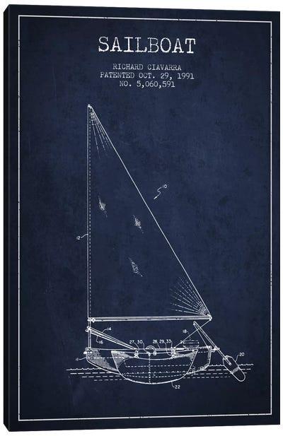 Sailboat 3 Navy Blue Patent Blueprint Canvas Print #ADP2722