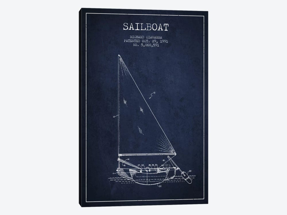 Sailboat 3 Navy Blue Patent Blueprint by Aged Pixel 1-piece Canvas Art Print