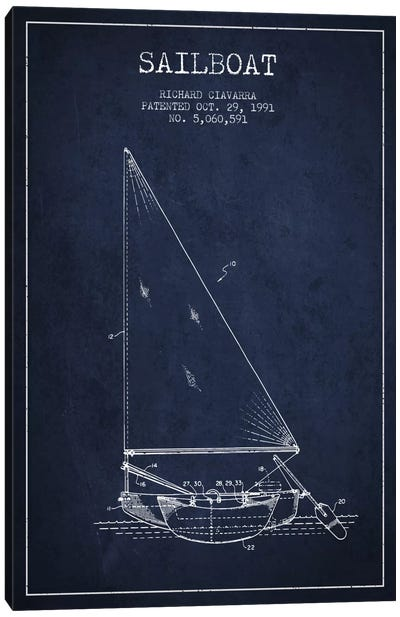 Sailboat 3 Navy Blue Patent Blueprint Canvas Art Print