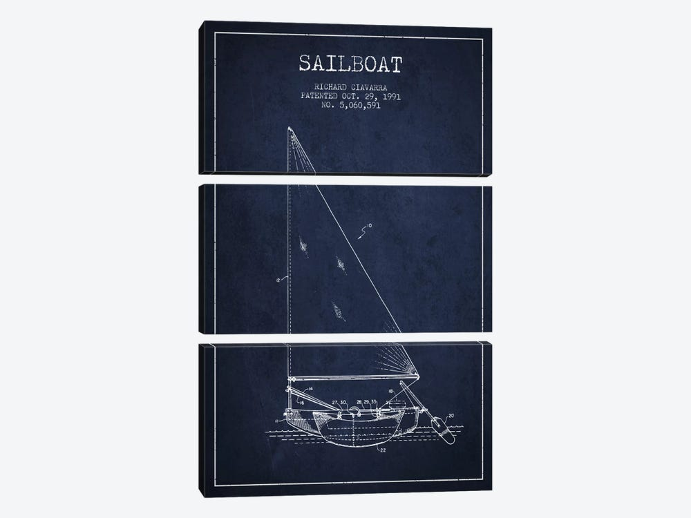 Sailboat 3 Navy Blue Patent Blueprint by Aged Pixel 3-piece Art Print