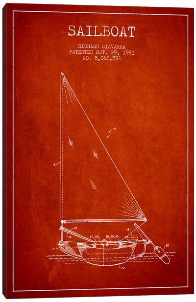 Sailboat 3 Red Patent Blueprint Canvas Art Print