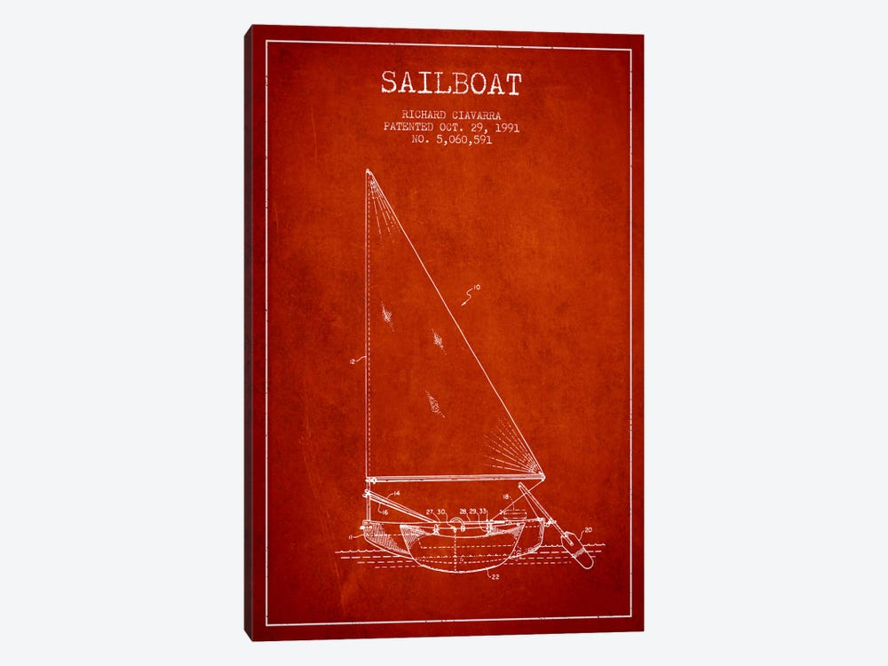 Sailboat 3 Red Patent Blueprint 1-piece Canvas Wall Art