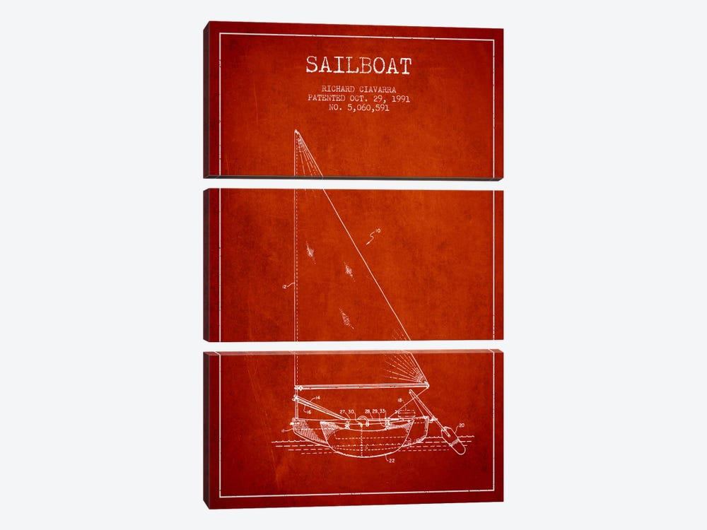 Sailboat 3 Red Patent Blueprint by Aged Pixel 3-piece Canvas Artwork