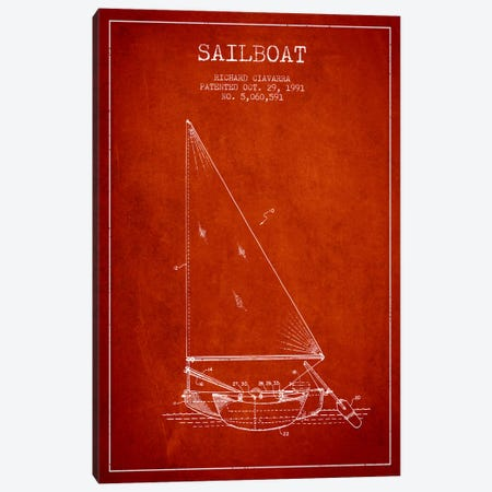 Sailboat 3 Red Patent Blueprint Canvas Print #ADP2723} by Aged Pixel Canvas Art Print