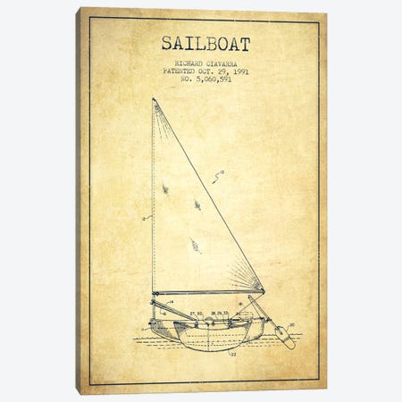 Sailboat 3 Vintage Patent Blueprint Canvas Print #ADP2724} by Aged Pixel Canvas Wall Art