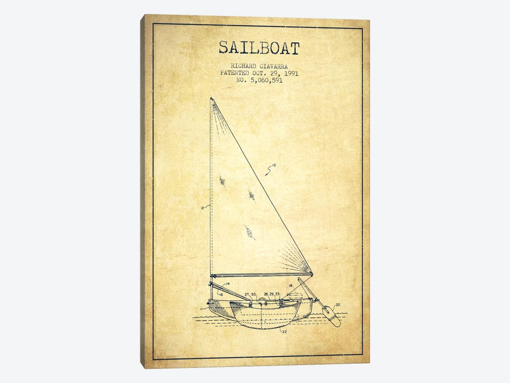 Sailboat 3 Vintage Patent Blueprint by Aged Pixel 1-piece Art Print