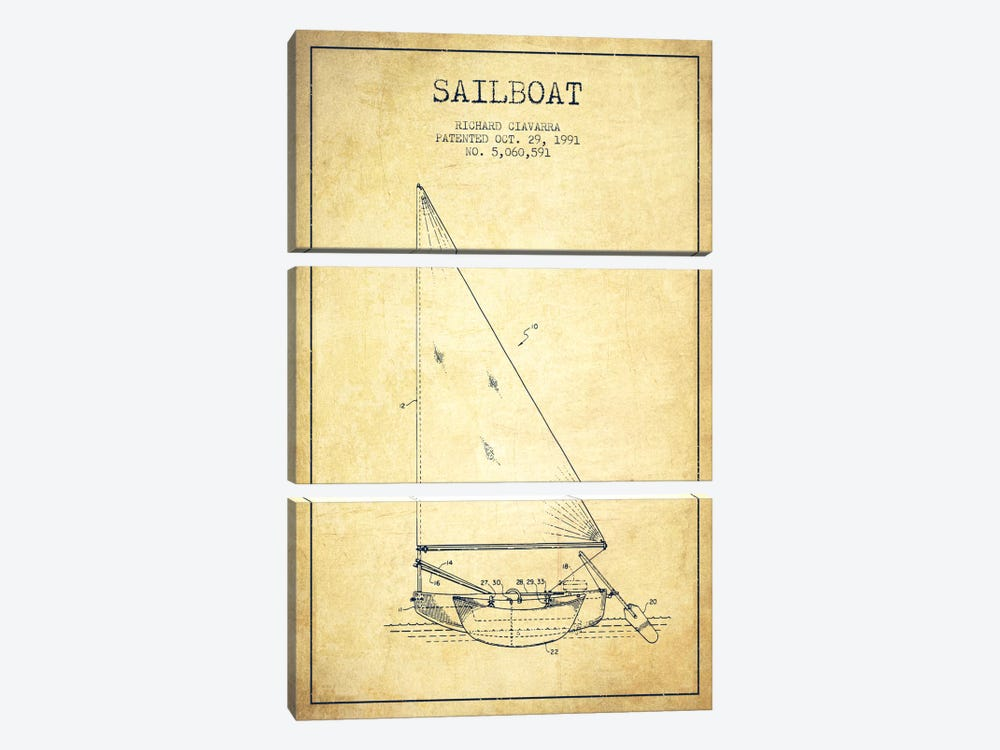 Sailboat 3 Vintage Patent Blueprint by Aged Pixel 3-piece Canvas Print