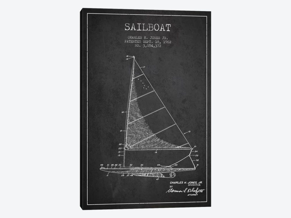 Sailboat 2 Charcoal Patent Blueprint by Aged Pixel 1-piece Canvas Art