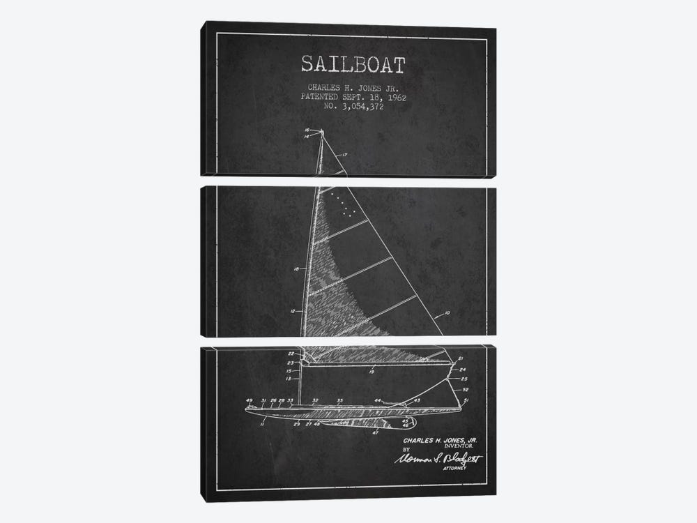 Sailboat 2 Charcoal Patent Blueprint by Aged Pixel 3-piece Canvas Wall Art