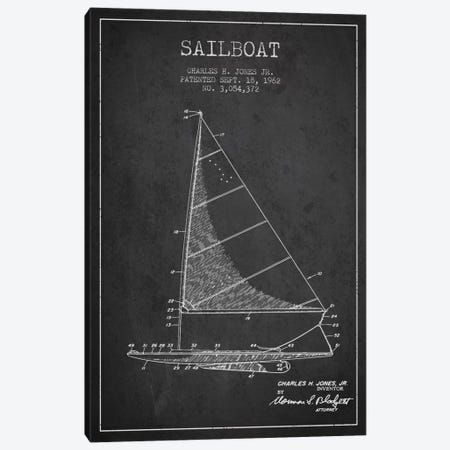 Sailboat 2 Charcoal Patent Blueprint Canvas Print #ADP2725} by Aged Pixel Canvas Artwork
