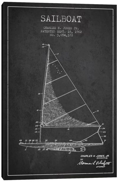 Sailboat 2 Charcoal Patent Blueprint Canvas Art Print