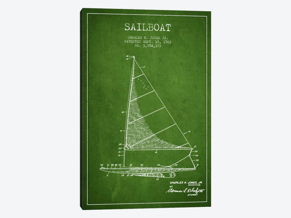 Sailboat 2 Green Patent Blueprint by Aged Pixel 1-piece Art Print