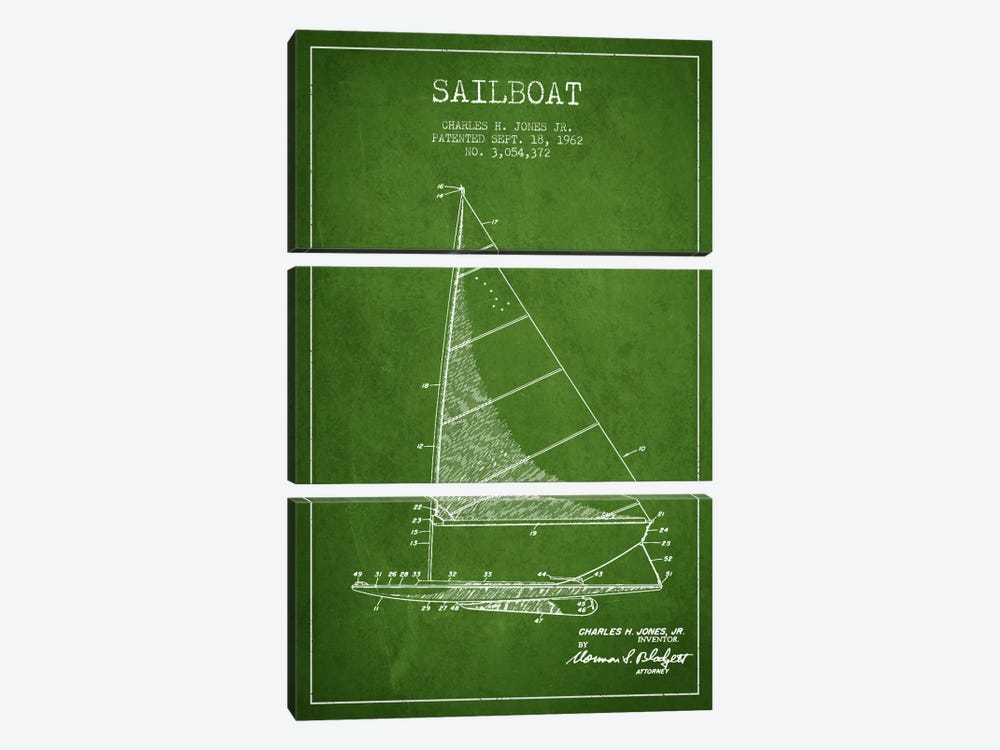 Sailboat 2 Green Patent Blueprint by Aged Pixel 3-piece Canvas Art Print