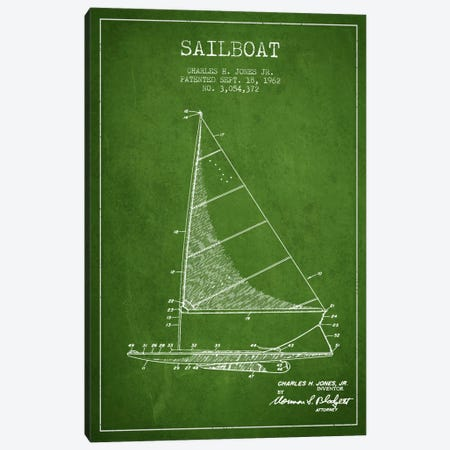 Sailboat 2 Green Patent Blueprint Canvas Print #ADP2726} by Aged Pixel Canvas Wall Art