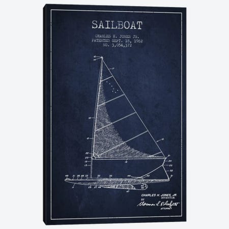 Sailboat 2 Navy Blue Patent Blueprint Canvas Print #ADP2727} by Aged Pixel Canvas Art