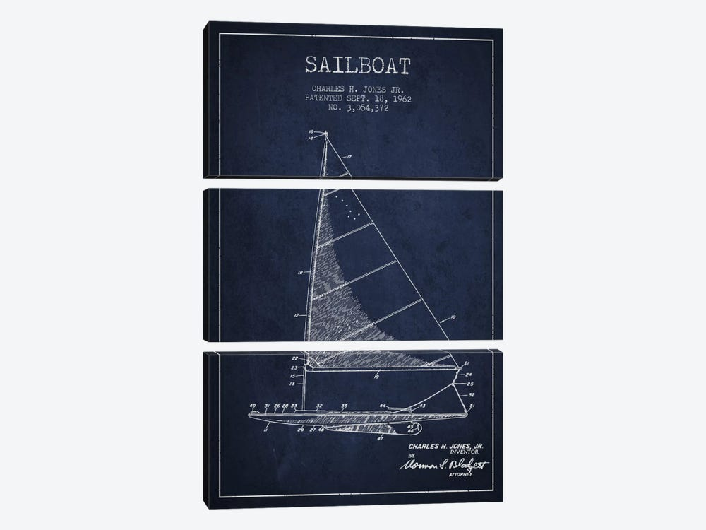 Sailboat 2 Navy Blue Patent Blueprint by Aged Pixel 3-piece Canvas Art