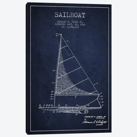 Sailboat 2 Navy Blue Patent Blueprint Canvas Print #ADP2727} by Aged Pixel Canvas Art
