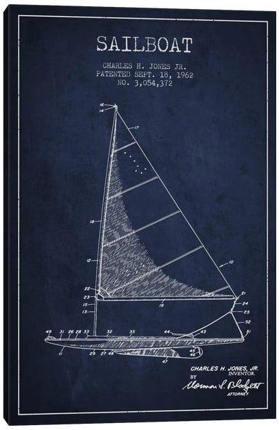 Sailboat 2 Navy Blue Patent Blueprint Canvas Art Print