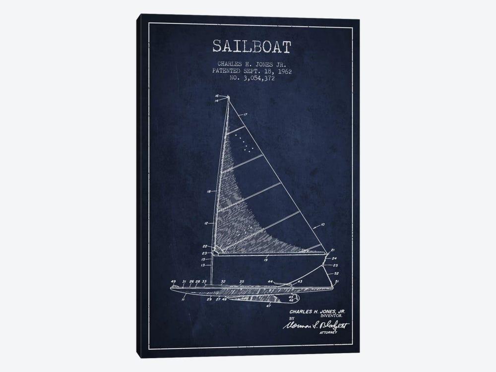 Sailboat 2 Navy Blue Patent Blueprint by Aged Pixel 1-piece Canvas Art