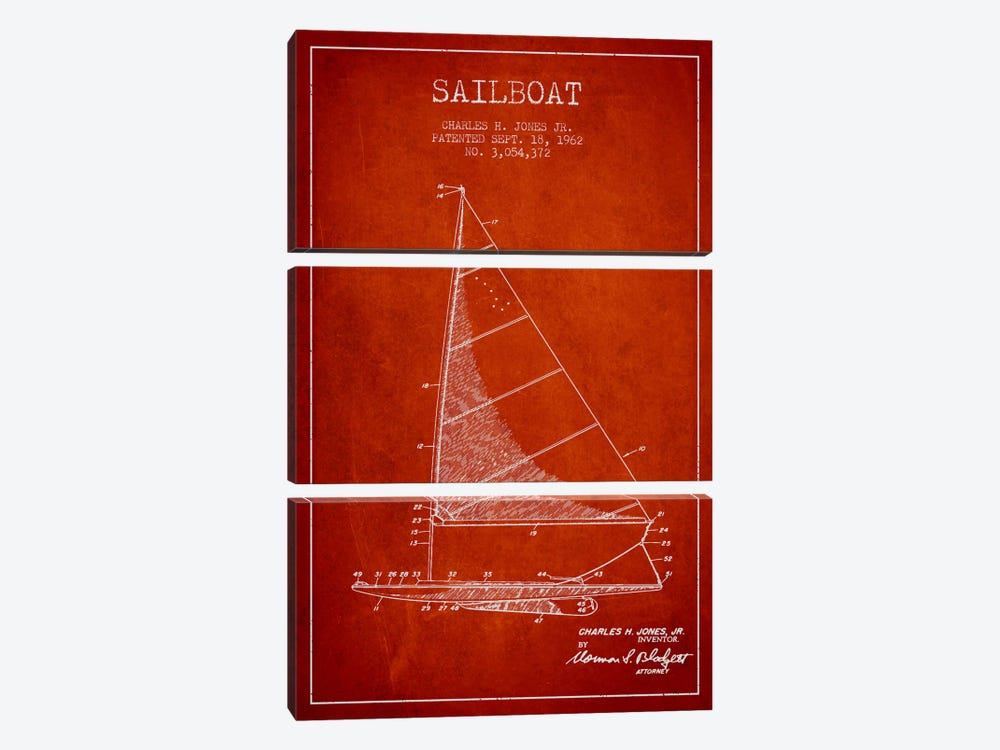 Sailboat 2 Red Patent Blueprint by Aged Pixel 3-piece Art Print