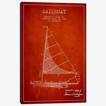 Sailboat 2 Red Patent Blueprint Canvas Print #ADP2728} by Aged Pixel Canvas Art Print