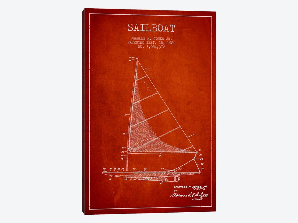 Sailboat 2 Red Patent Blueprint by Aged Pixel 1-piece Canvas Print