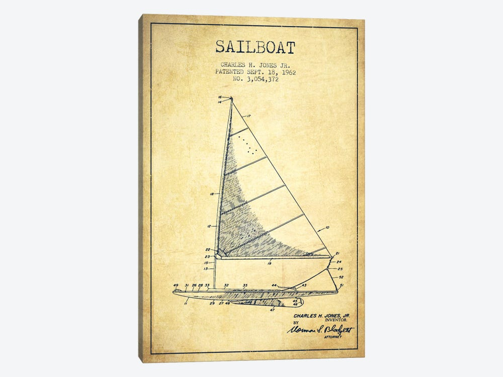 Sailboat 2 Vintage Patent Blueprint by Aged Pixel 1-piece Canvas Wall Art